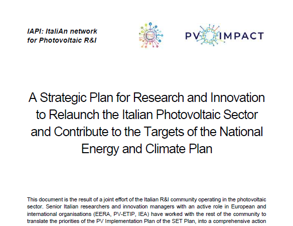 A Strategic Plan for Research and Innovation to Relaunch the Italian Photovoltaic Sector